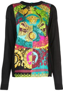 Versace Blusa Com Estampa Technicolor Baroque - Estampado