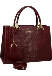 Bolsa Handbag Textura Croco Zíper Alça Transversal Dia A Dia - Feminino-Vinho
