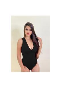 Body Decote Com Bojo Luiza Helena Lopes Preto
