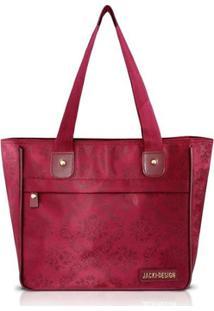 Bolsa Jack Design Shopper Damasco - Feminino-Vinho