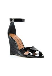 Sandalia Anabela Com Tiras Modeladas Em X Preto