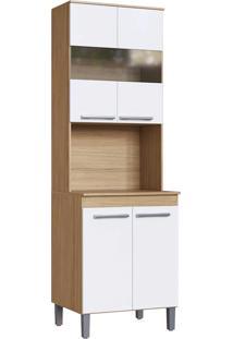 Modulo Forno Cozinha Joy 4 Portas E Nicho 0,63M Naturalle Branco Decibal Moveis