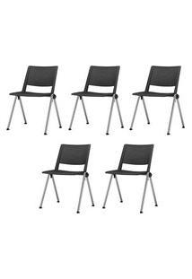 Kit 5 Cadeiras Up Assento Preto Base Fixa Cinza - 57831 Preto