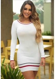 Vestido Curto Tricot Manga Longa Branco Listra Barra