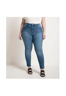 Calça Skinny Push Up Jeans Curve & Plus Size   Ashua Curve E Plus Size   Azul   52