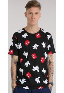 Camiseta Estampada Mickey Preta