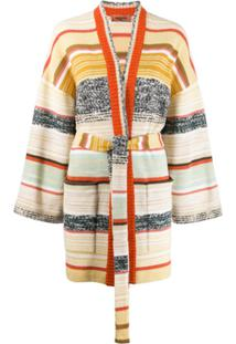 Missoni Cardigan Color Block Com Listras - Neutro