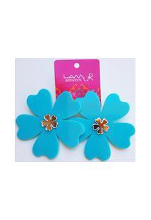 Brinco De Acrílico Flor - Azul