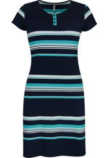 Vestido Pau A Pique Listrado Azul Marinho E Turquesa - Kanui