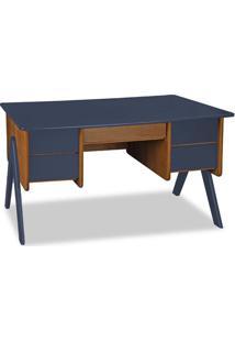 Escrivaninha Vintage 4 Gv Nogal E Azul Noite