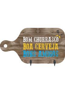 """Porta Chaves Tábua """"Bom Churrasco""""- Marrom & Amarelokapos"""