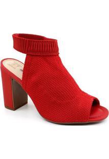 Sandália Dakota Salto Alto Malha Feminina - Feminino-Vermelho