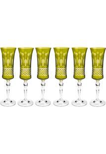 Jogo De Taças Para Champagne 6 Peças 190Ml Grace Saphire - Bohemia - Verde