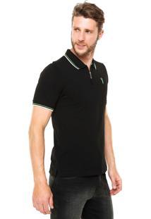 Camisa Polo Aleatory Zíper Preta