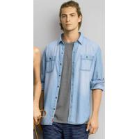 bd7fdf632f Camisa Jeans Masculina Slim Com Bolsos Hering