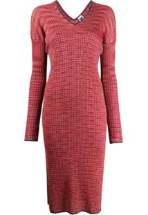 M Missoni Ribbed-Knit Dress - Vermelho