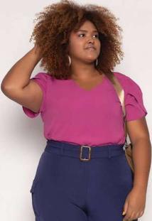 Blusa Almaria Plus Size Enois Crepe Liso Pink Rosa