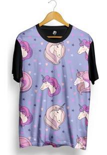 Camiseta Bsc Cute Unicorn Full Print Preto/Roxo - Masculino-Preto