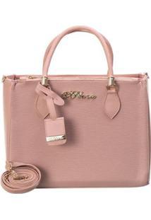 Bolsa Handbag D'Flora Alça Dupla Feminina Estilo Elegancia - Feminino-Rosa