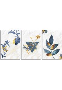 Quadro 60X120Cm Escandinavo Floral Corinto Canvas Decoração