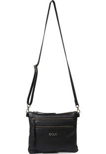 Bolsa Em Couro Recuo Fashion Bag Transversal Preto