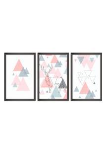 Quadro Oppen House 60X120Cm Abstrato Escandinavo Coloridos Geométrico Triangulos Moldura Preta Sem Vidro Mod: Oh5709