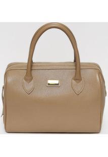 Bolsa Ba㺠Em Couro- Bege & Dourada- 25X33X17,5Cmanette