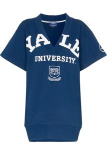 Calvin Klein 205W39Nyc Suéter Yale Mangas Curtas E Decote V - Azul