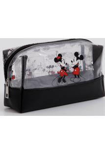 Necessaire Feminina Vinil Estampa Mickey Minnie Disney