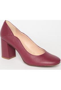 Sapato Tradicional Em Couro Com Recorte- Vinho- Saltloucos E Santos