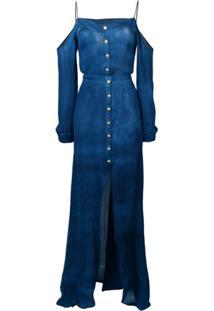Balmain Vestido Longo Com Abotoamento - Azul