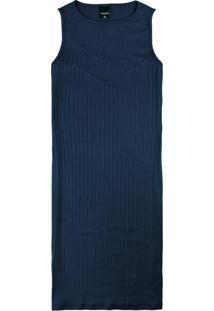 Vestido Azul Marinho Curto Canelado