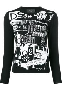 Dsquared2 Blusa De Moletom Com Estampa Gráfica - Preto