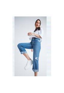 Calça Jeans Buy Style Momy Reta Listrada Azul