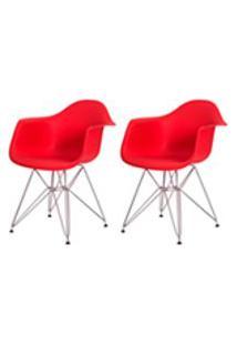 Kit 2 Cadeiras Eiffel Eames C/ Braco Base Cromada Vermelha
