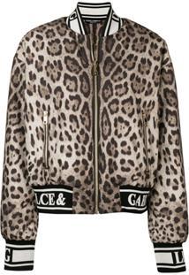 Dolce & Gabbana Jaqueta Bomber Com Animal Print - Marrom