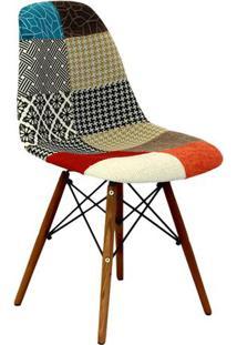 Cadeira Eames Dkr Patchwork- Vermelha & Madeira Escura