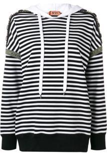 Nº21 Blusa De Moletom Listrada Com Aplicação - Branco