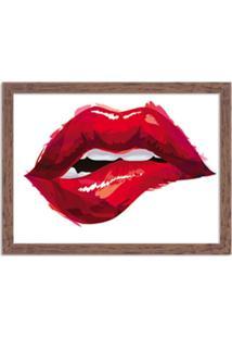 Quadro Decorativo Boca Glamour Vermelha Madeira - Médio