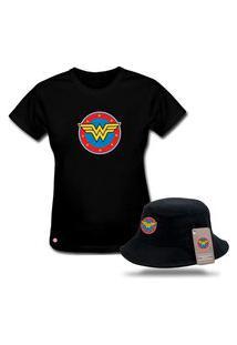Kit Blusa Feminina T-Shirt Com Chapéu Bucket Personalizado Mulher Maravilha - Preto