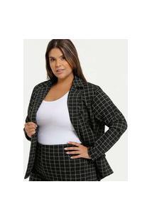 Blazer Feminino Estampa Xadrez Plus Size Marisa
