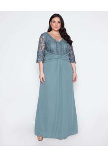 Vestido Almaria Plus Size Pianeta Longo Degagê Ver