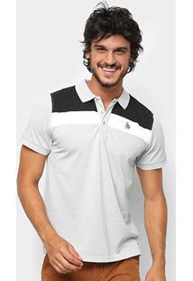 Camisa Polo Nyc Manga Curta Recortes Masculina - Masculino-Cinza