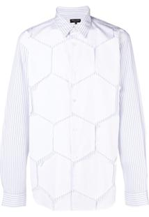 Comme Des Garçons Homme Plus Camisa Listrada Com Patch Hexagonal - Branco