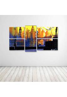 Quadro Decorativo - London City Drawing - Composto De 5 Quadros - Multicolorido - Dafiti