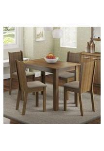 Conjunto Sala De Jantar Madesa Rute Mesa Tampo De Madeira Com 4 Cadeiras Rustic/Pérola