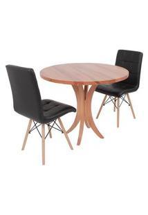 Conjunto Mesa De Jantar Tampo De Madeira 90Cm Com 2 Cadeiras Gomos - Preto