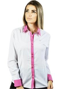 Camisa Pimenta Rosada Lívia - Feminino-Branco+Rosa