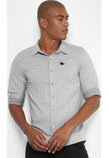 Camisa Manga Longa Rg 518 Ponto Bordado Masculina - Masculino-Mescla
