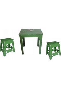 Mesa 2 Banquetas De Plástico Verde Dobrável 3 Jogos Antares
